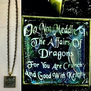 Unbranded Other - PRESERVED WOOD DRAGON AND NECKLACE